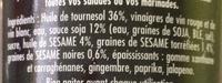 Maille Vinaigrette Légère Huile de Sésame & Sauce Soja Graines de Sésame Torréfiées 36cL - Ingredients - fr
