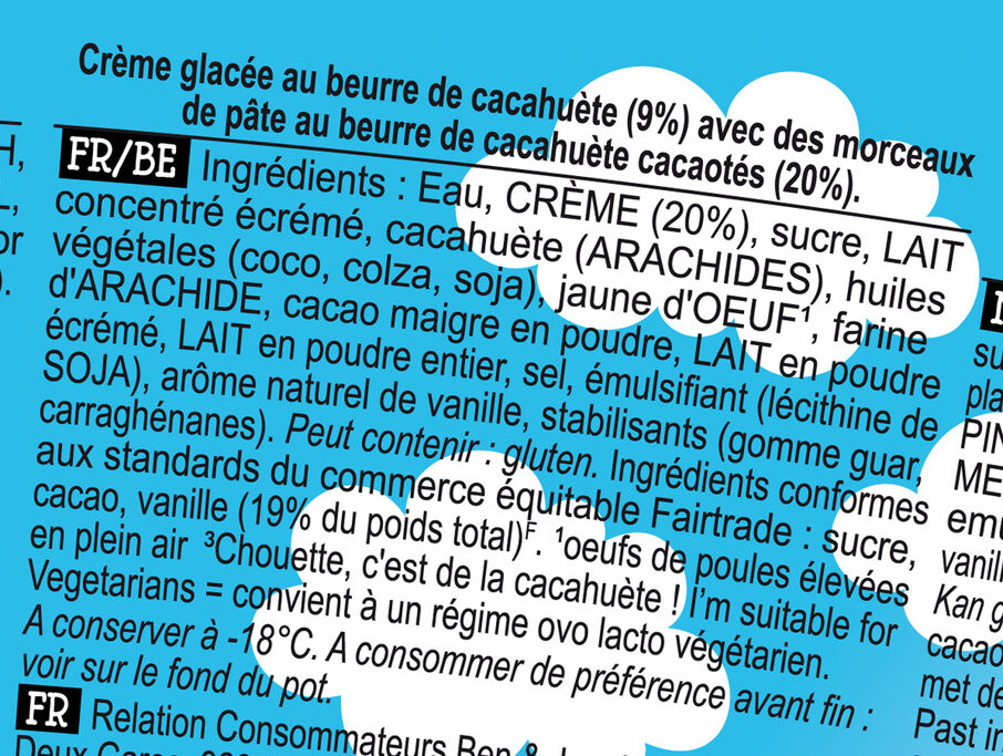 Ben & Jerry's Glace Pot Peanut Butter Cup Cacahuète - Ingredienti - fr