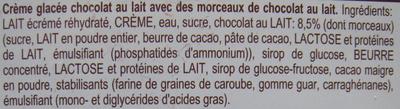 Crème glacée chocolat au lait - Ingredients