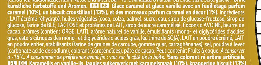 Viennetta Dessert Glacé Biscuit Caramel 7 parts 650ml - Ingredients - fr
