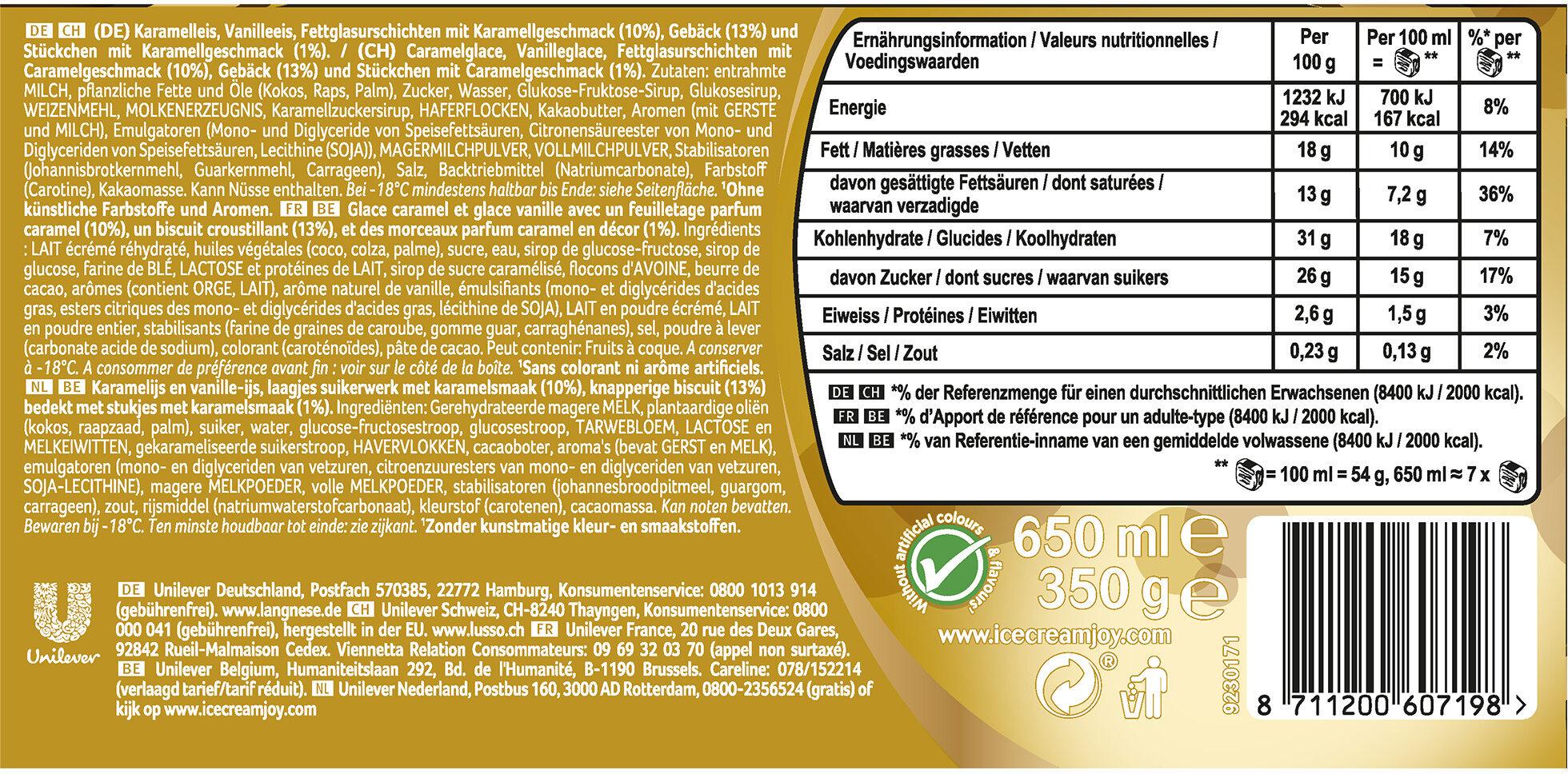 Viennetta Dessert Glacé Biscuit Caramel 7 parts 650 ml - Ingrediënten - nl