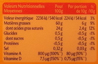 Planta Fin Doux (60 % MG) Tartine & Cuisson - Nutrition facts