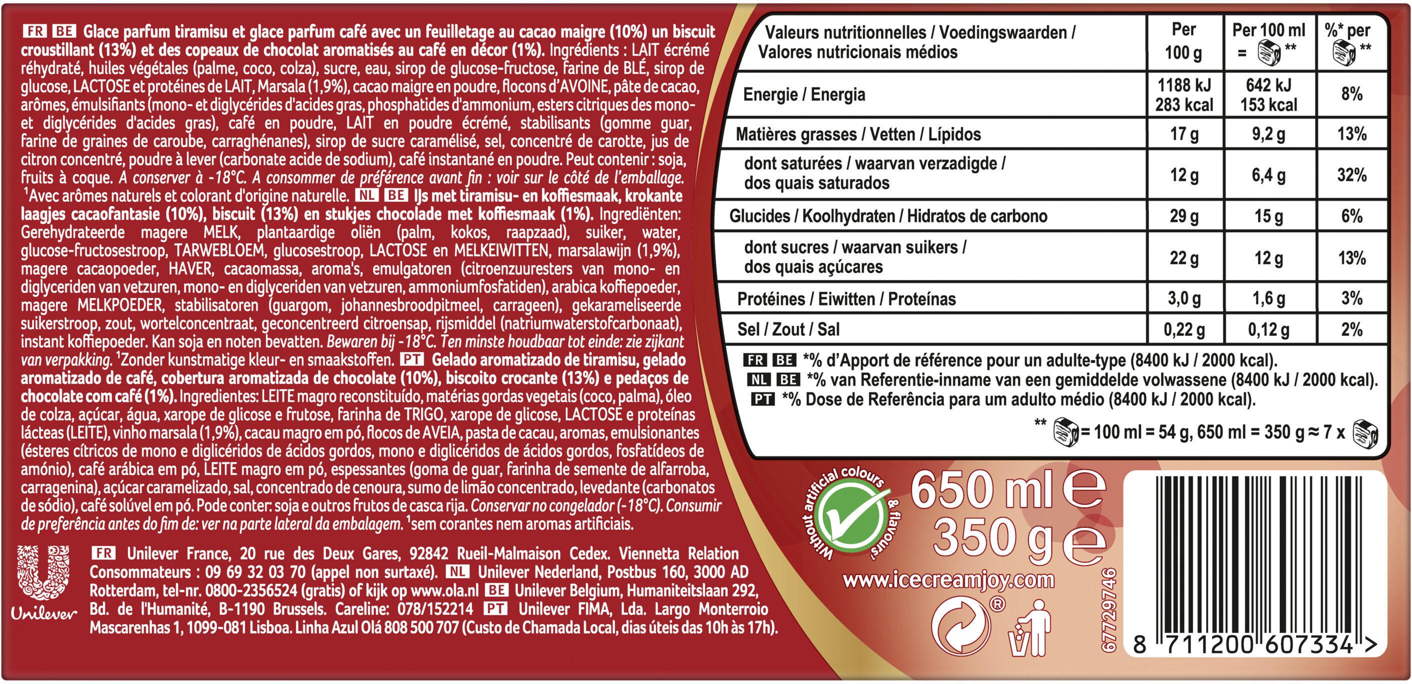 Viennetta Dessert Glace Parfum Tiramisu 7 parts 650ml - Ingrediënten - nl