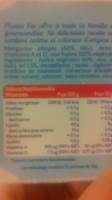Planta Fin 60% MG Demi-sel (Tartine et Cuisson) - Nutrition facts