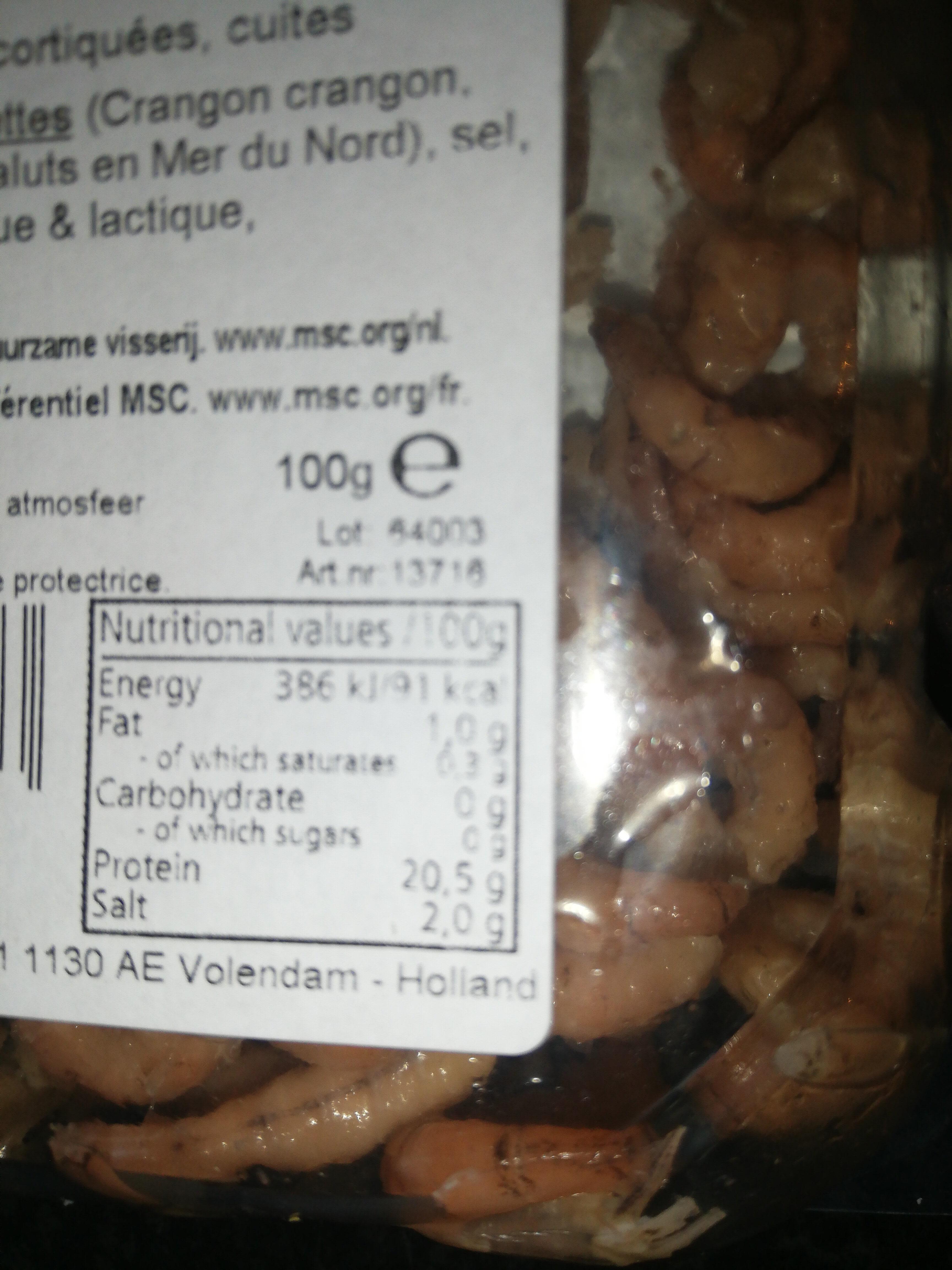 Noordzee Garnalen, gekookt - Informations nutritionnelles - nl