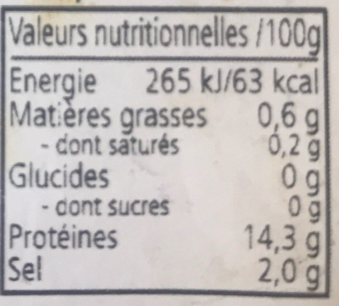 Crevettes roses - Informations nutritionnelles - fr