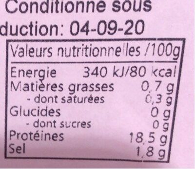 Crevettes tigree - Informations nutritionnelles - fr