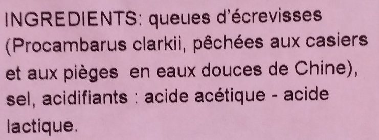 Queue d'ecrevisse - Ingrédients - fr