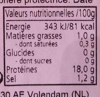 Chair d'écrevisses - Nutrition facts