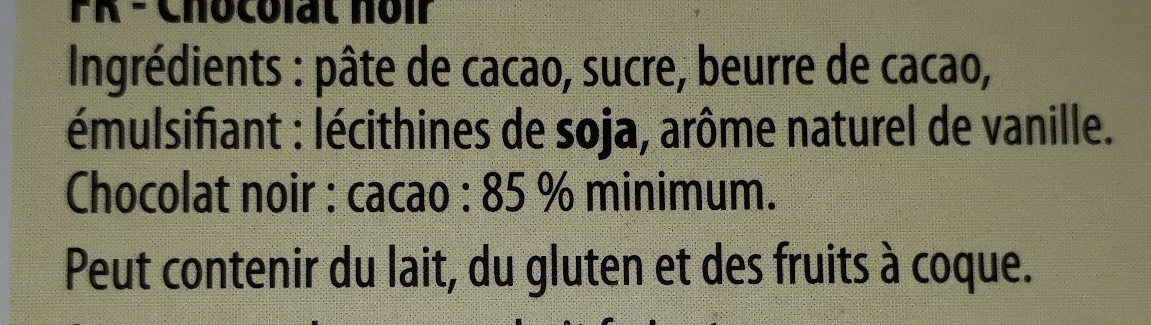 85% dark - Ingrediënten - fr