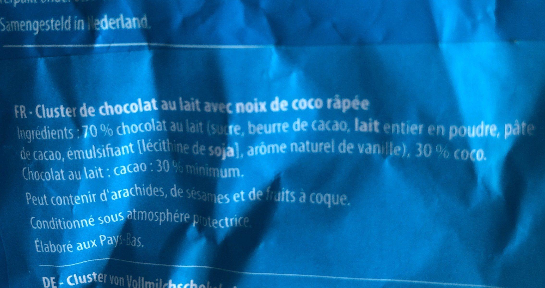 Chocolat coconut clusters - Ingrediënten - fr