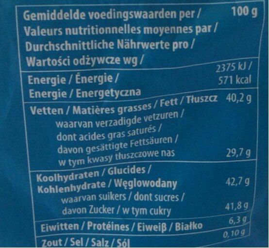 Chocolat coconut clusters - Voedingswaarden - fr