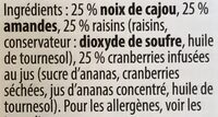 Mélange fruits et noix - Ingredientes