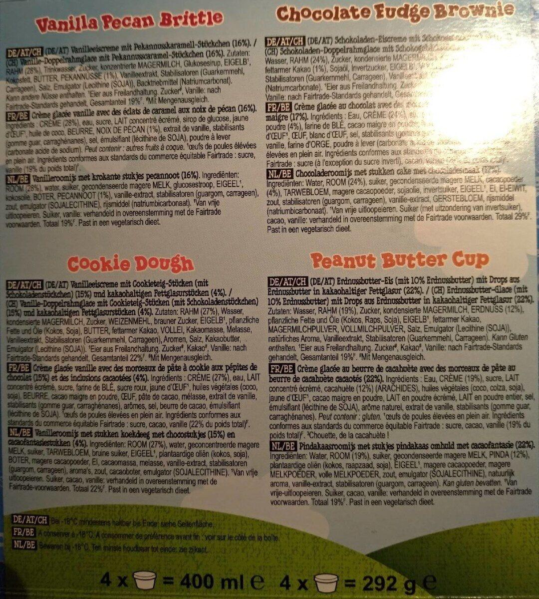 Ben & Jerry's Glace Mini Pots The Fan-Favourites Cool-lection 4x100ml - Ingrédients - fr
