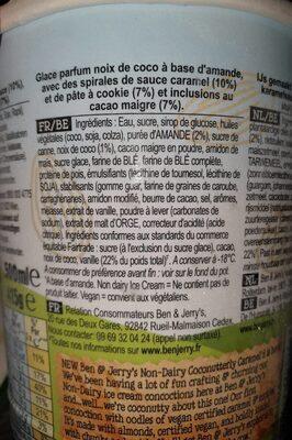 Ben & Jerry's Vegan Glace en Pot Noix de Coco et Caramel 500ml - Inhaltsstoffe