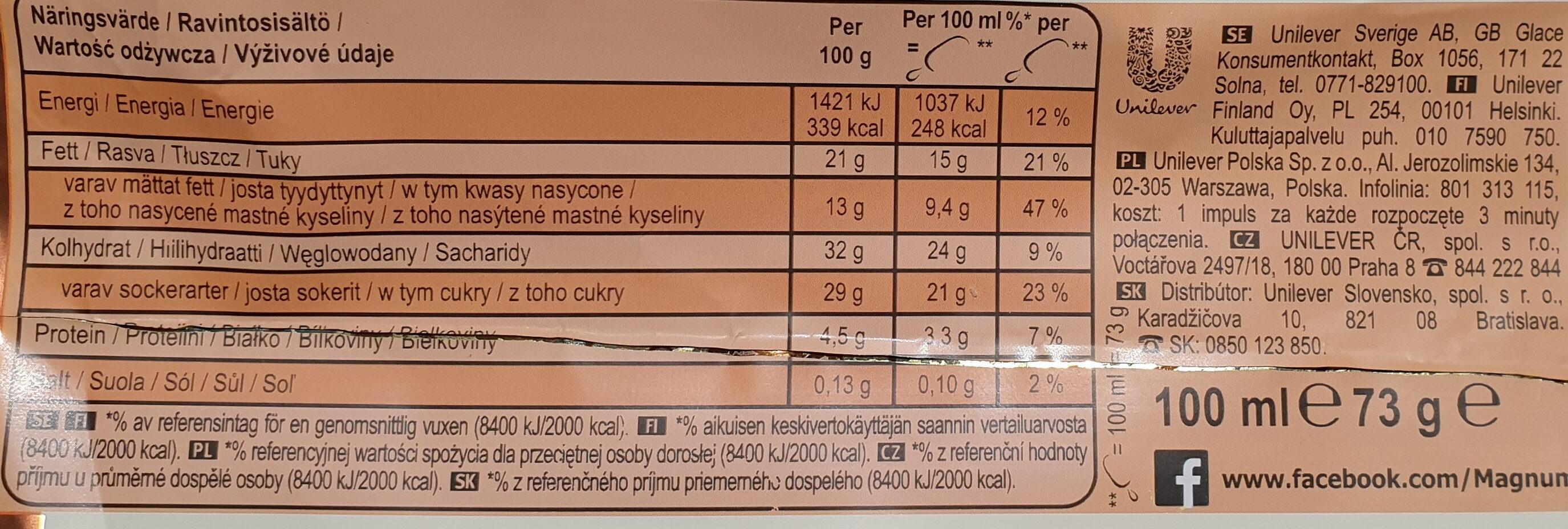 Lody z wanilią z Madagaskaru w białej czekoladzie (28%) z migdałami (5%) - Voedingswaarden
