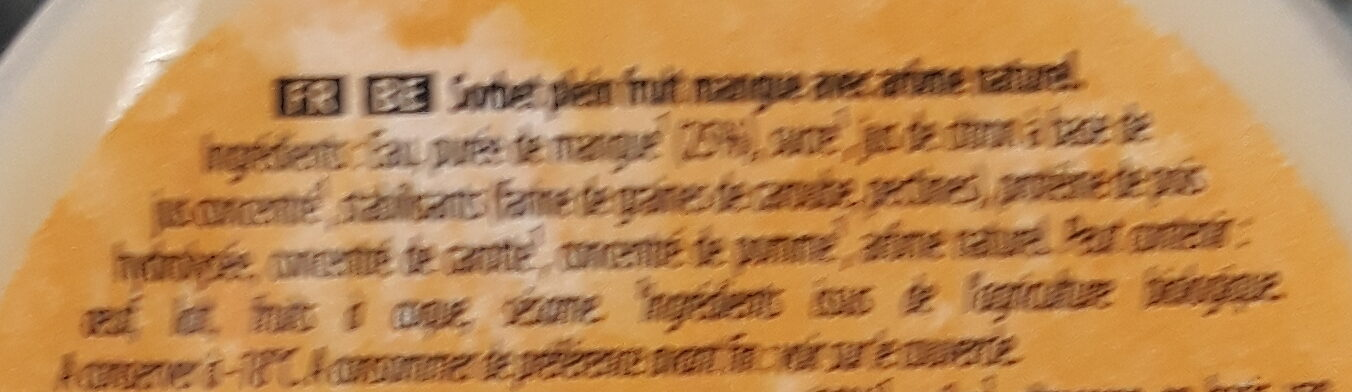 Carte D'or Sorbet Bio Mangue d'Inde 450ml - Ingredienti - fr