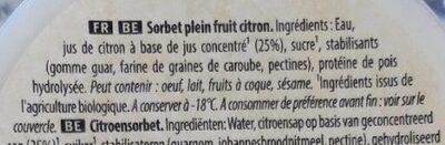 Sorbet citron de Sicile Bio - Ingredientes