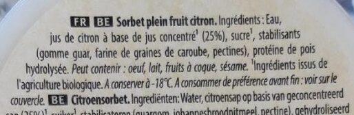 Carte d'or - Les bio sorbet citron de Sicile - Ingredients - fr