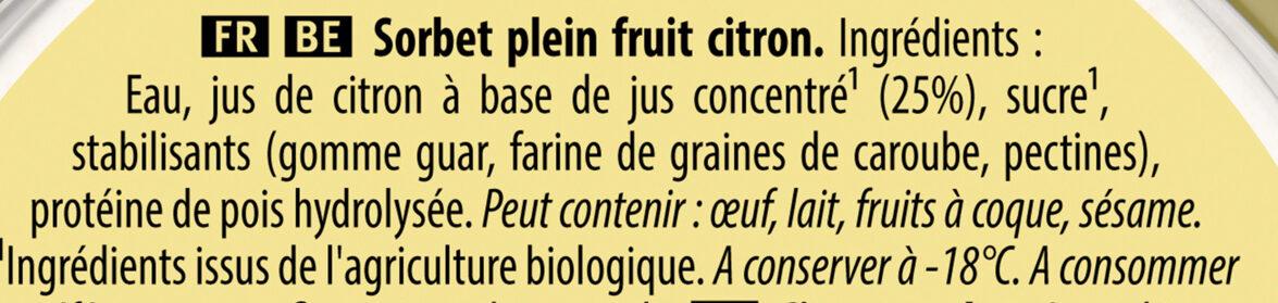 Sorbet Bio Citron de Sicile - Ingredienti - fr