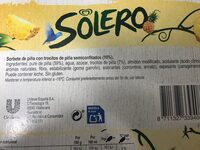 Solero - Ingredientes
