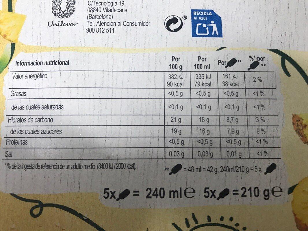 Piña - Voedingswaarden - es