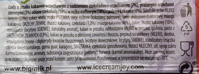 Lody o smaku kakaowo-orzechowym z nadzieniem czekolado-orzechowym - Składniki