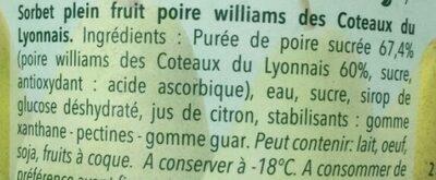 Carte D'or Pot Sorbet Intense Poire Williams Coteaux du Lyonnais - Ingredients - fr