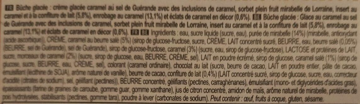 Carte D'or Glace Bûche Mirabelles Caramel 7 parts 700ml - Ingredienti - fr
