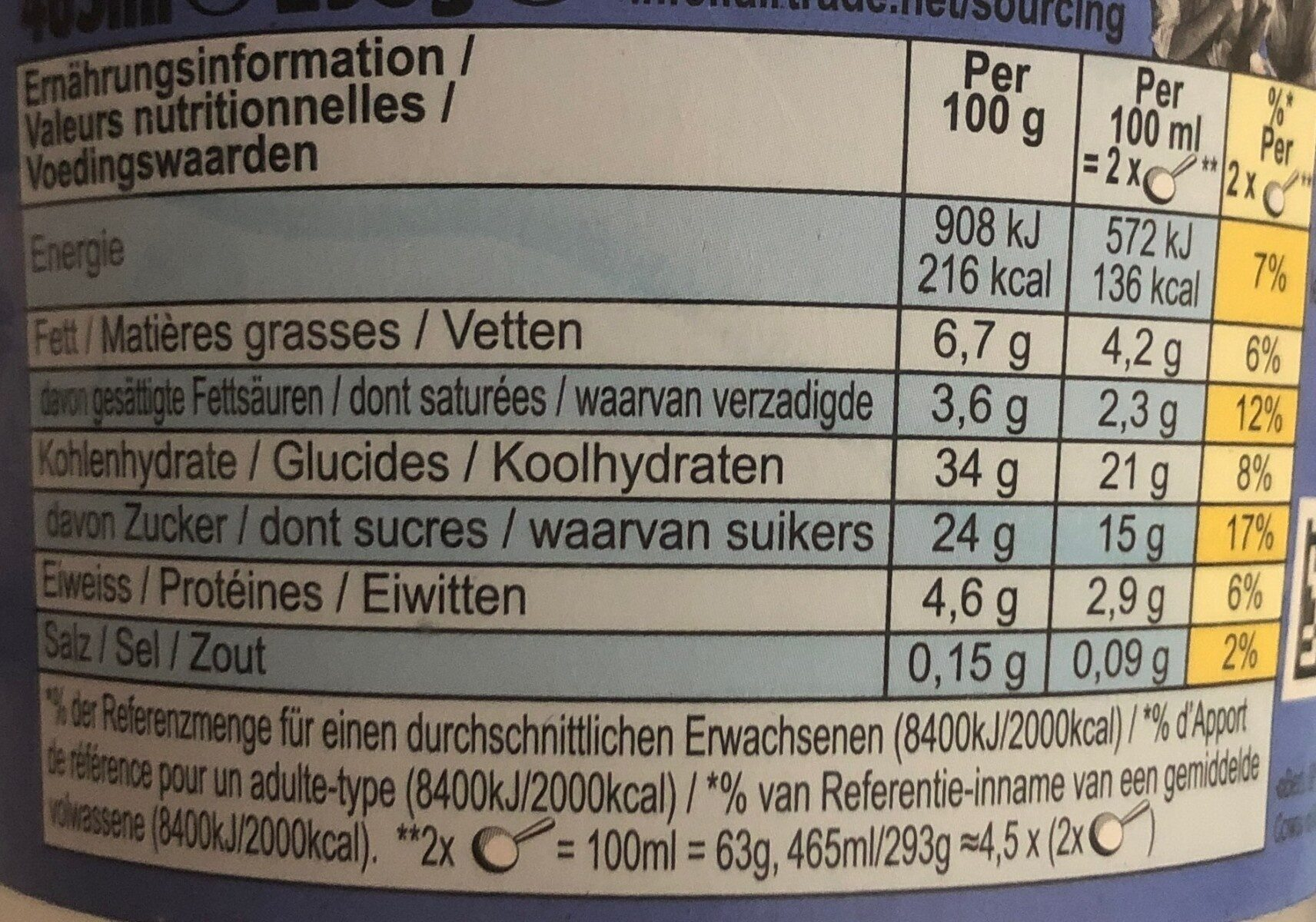 Ben & Jerry's Glace en Pot Moo-phoria™ Chocolate Cookie Dough 465ml - Nutrition facts - fr