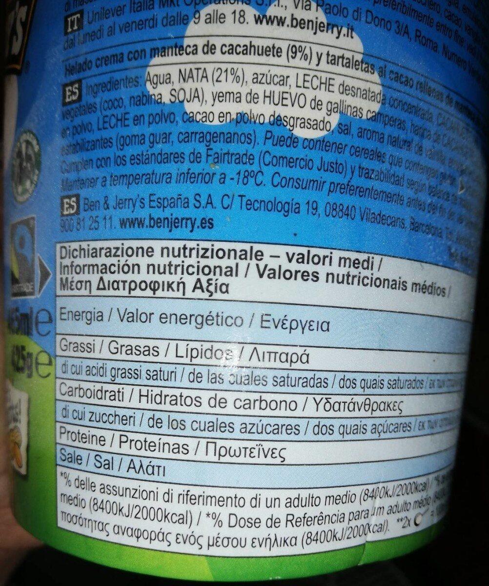 Ben & Jerry's Glace Pot Peanut Butter - Información nutricional - es