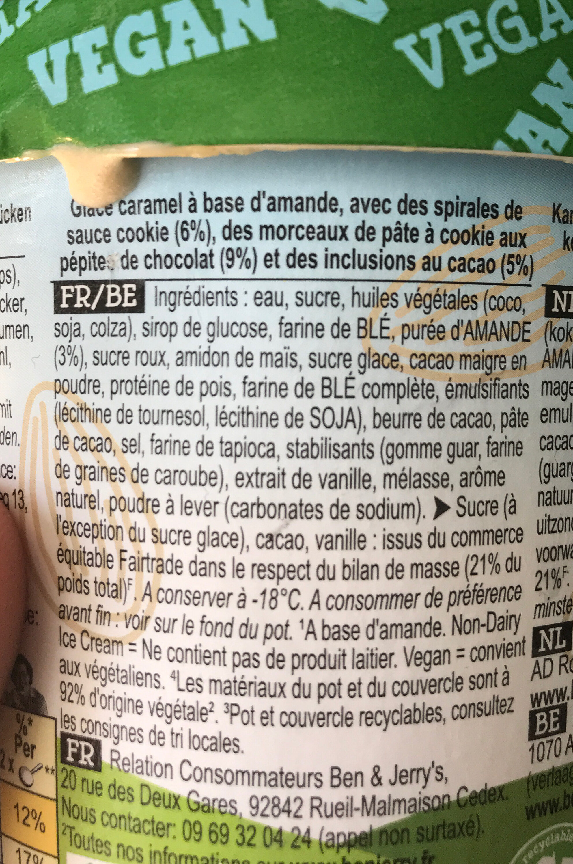 Ben & Jerry's Glace en Pot Vegan Cookies on Cookie Dough - Ingrédients - fr