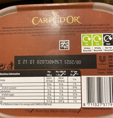 Carte D'Or - Valori nutrizionali - en