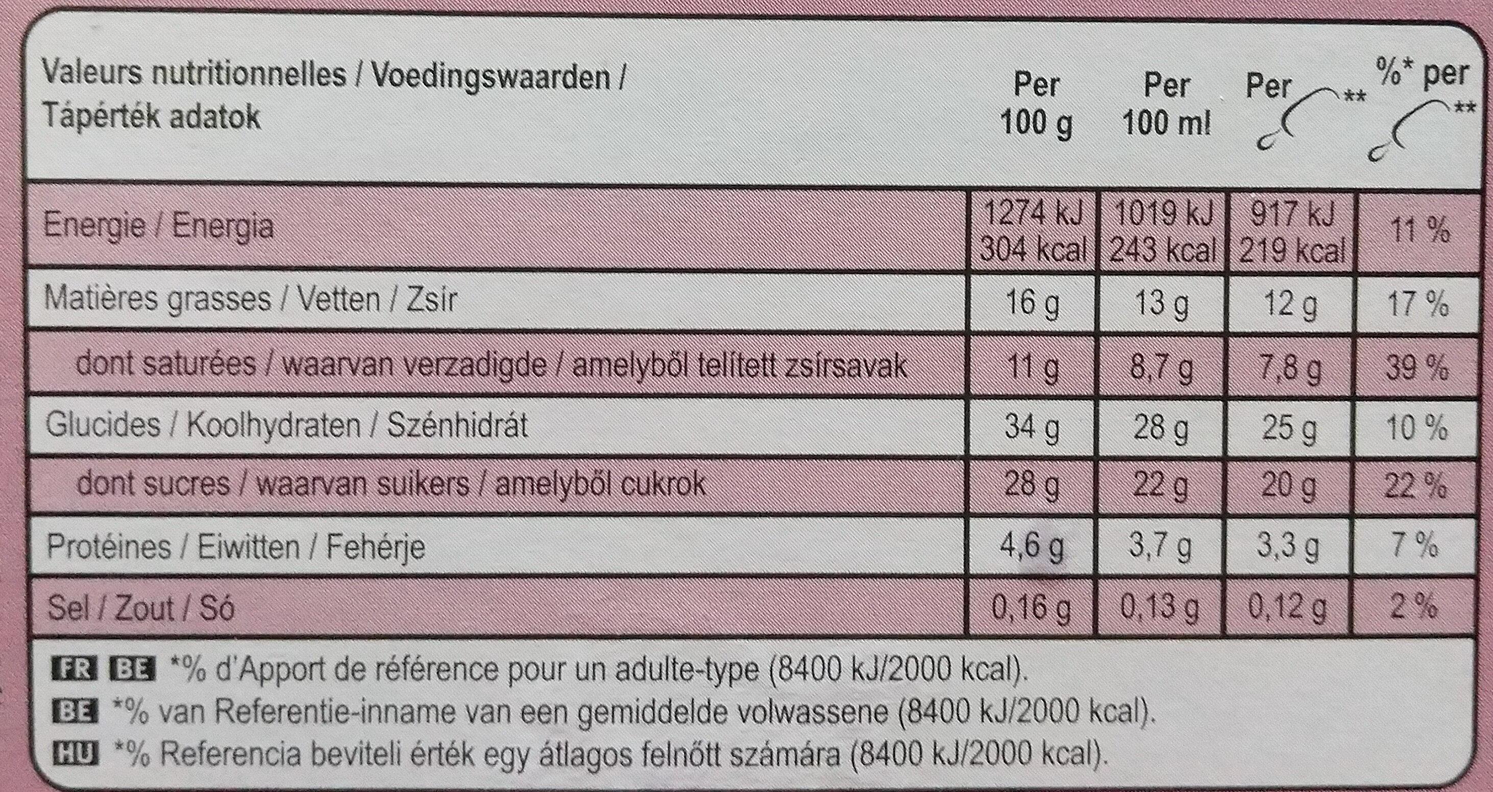 Magnum Glace Bâtonnet Ruby x4 - Informations nutritionnelles - fr