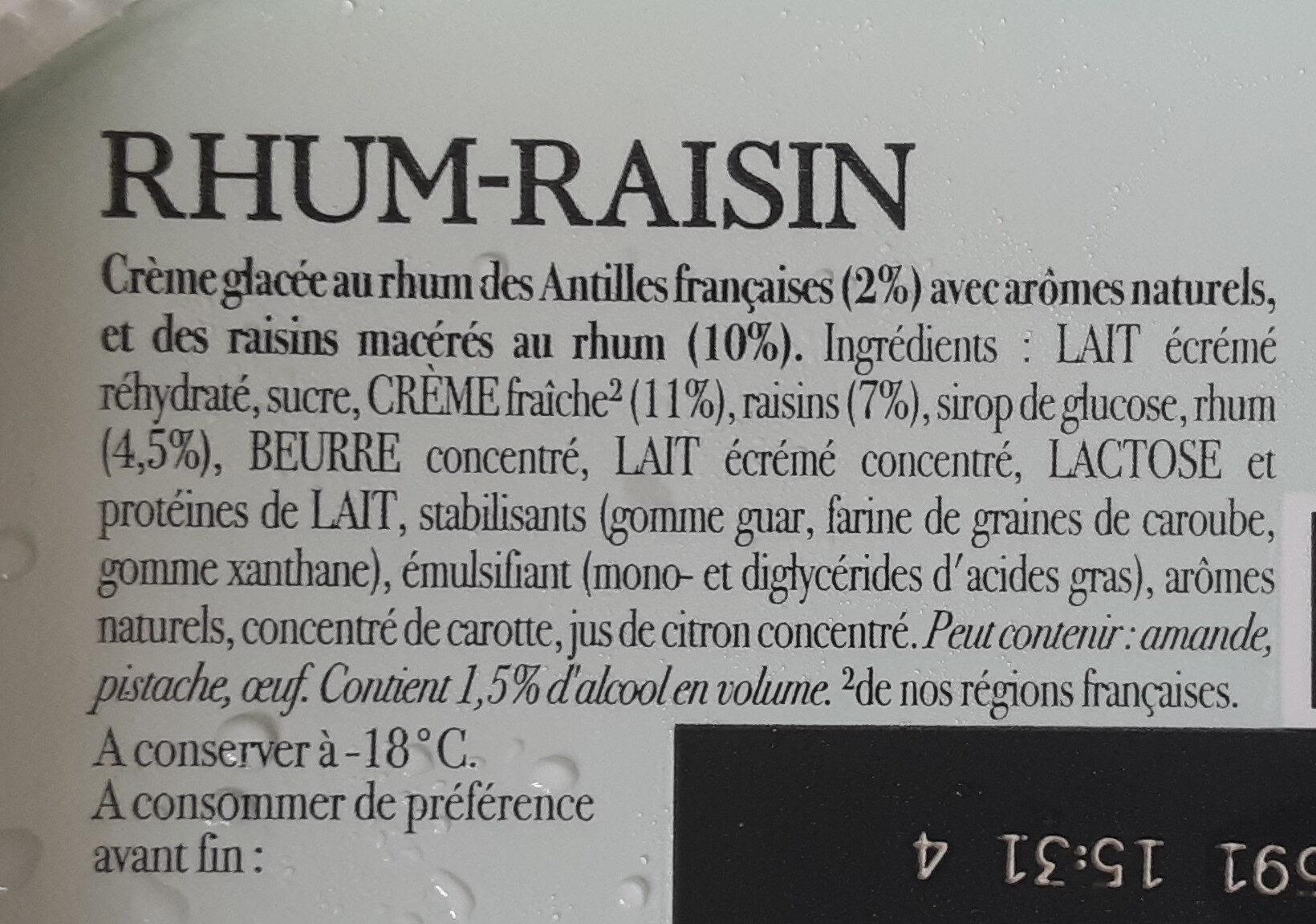 Carte D'or Glace Rhum Raisins - Ingrédients - fr