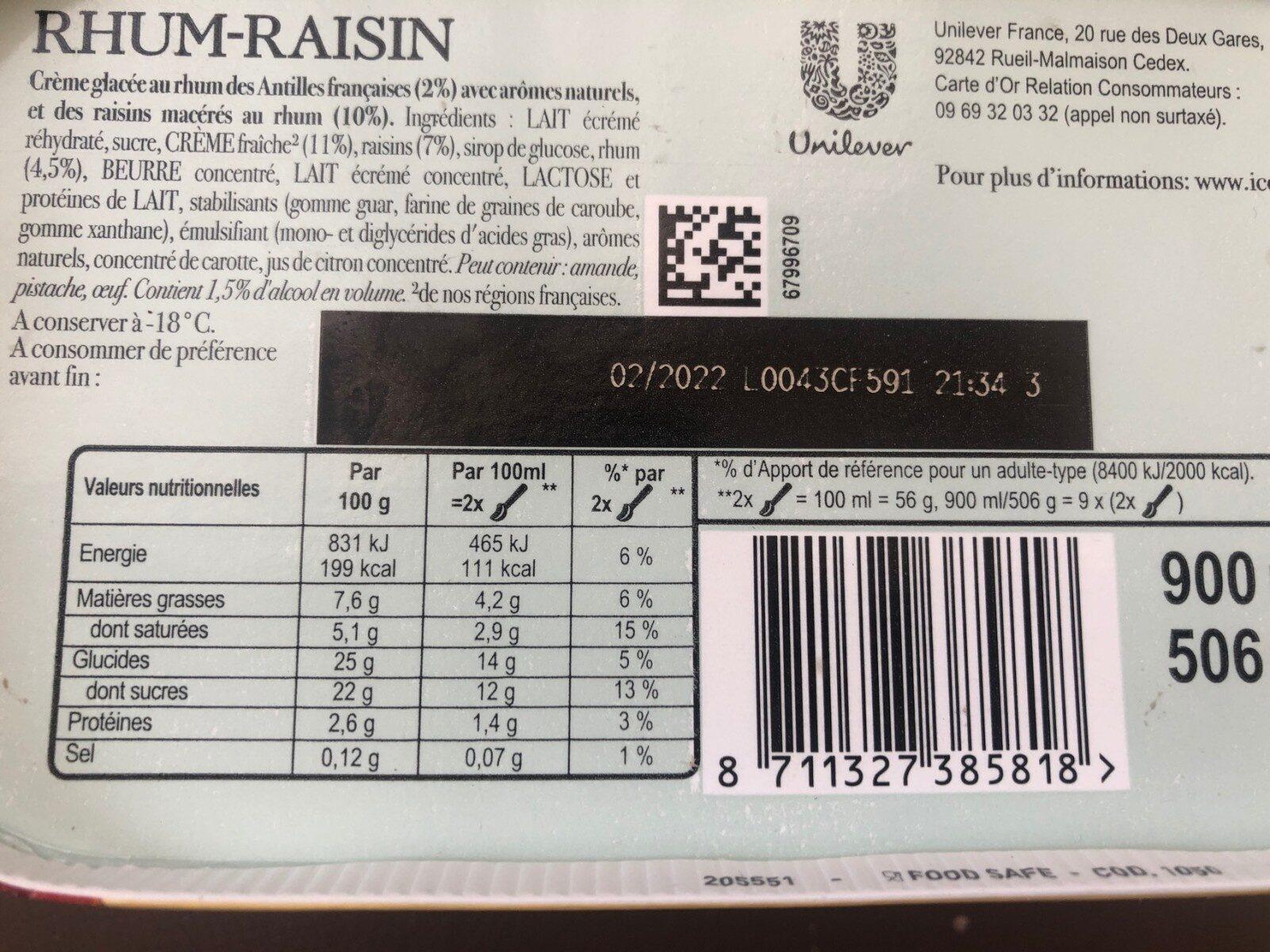 Carte D'or Glace Rhum Raisins - Informations nutritionnelles - fr