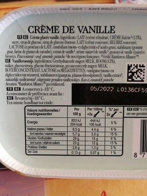 Carte D'or Glace Crème de Vanille de Madagascar 900ml - Ingredienti - fr