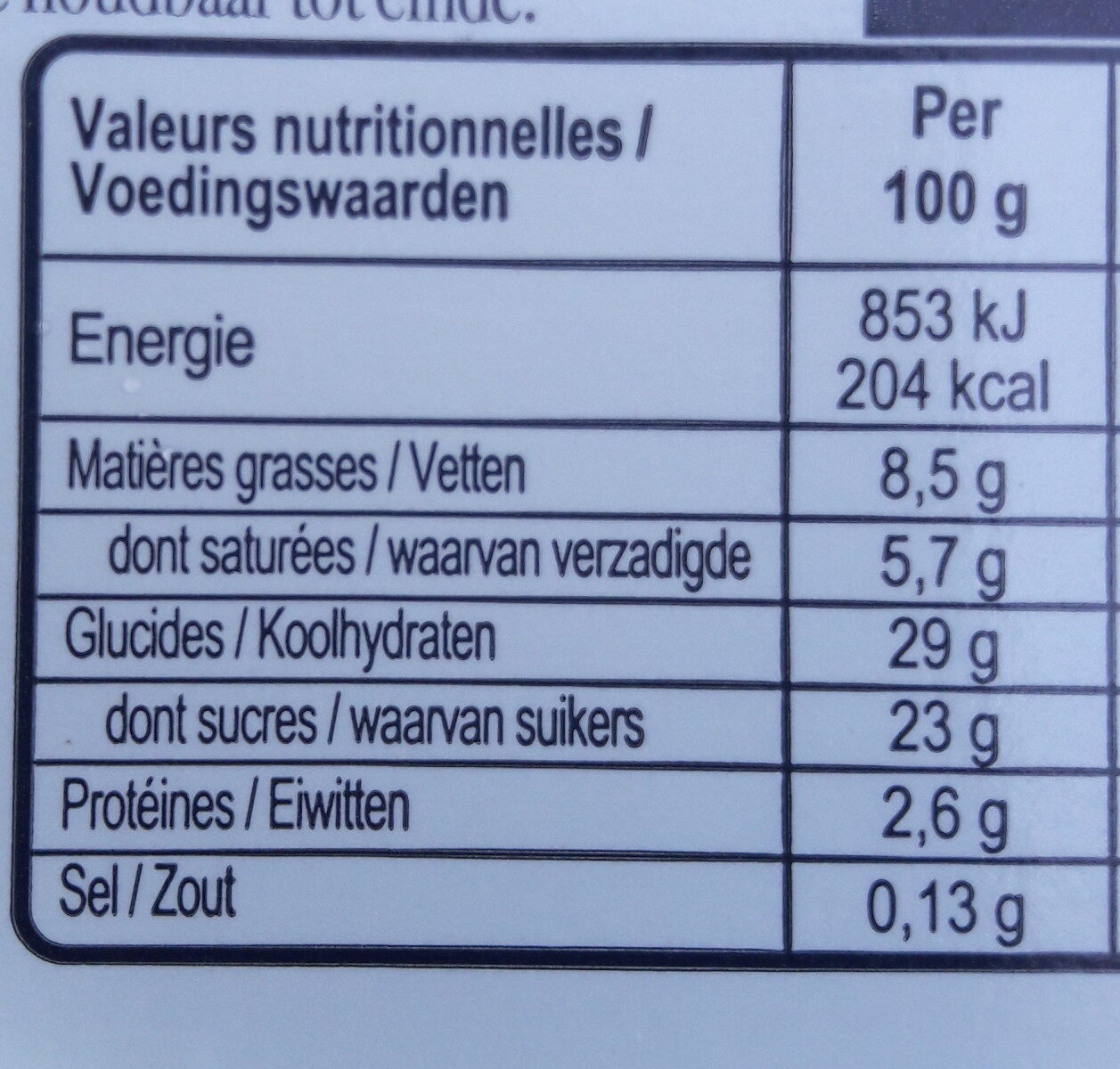Carte D'or Glace Crème de Vanille de Madagascar 900ml - Valori nutrizionali - fr