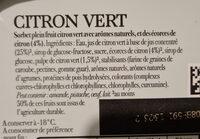 Carte D'or Sorbet Citron Vert - Ingredients - fr