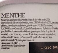 Carte d'Or Glace Menthe avec Éclats Chocolat Noir - Ingrédients - fr