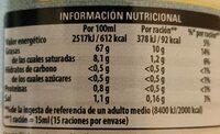 Calvé Zero mayonesa - Informació nutricional - es