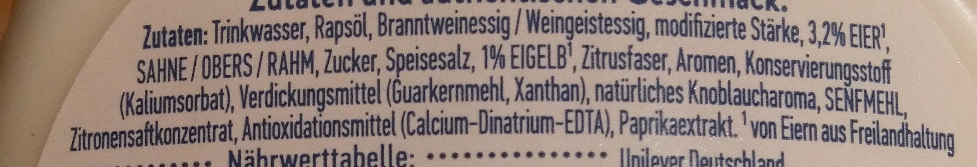 Hellman's mit Knoblauch Note - Ingredients - de