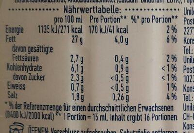 Hellman's mit Knoblauch Note - Nutrition facts - de