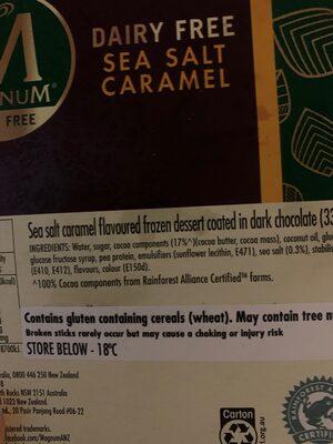 Magnum Vegan Sea Salt Caramel - Ingredients - en