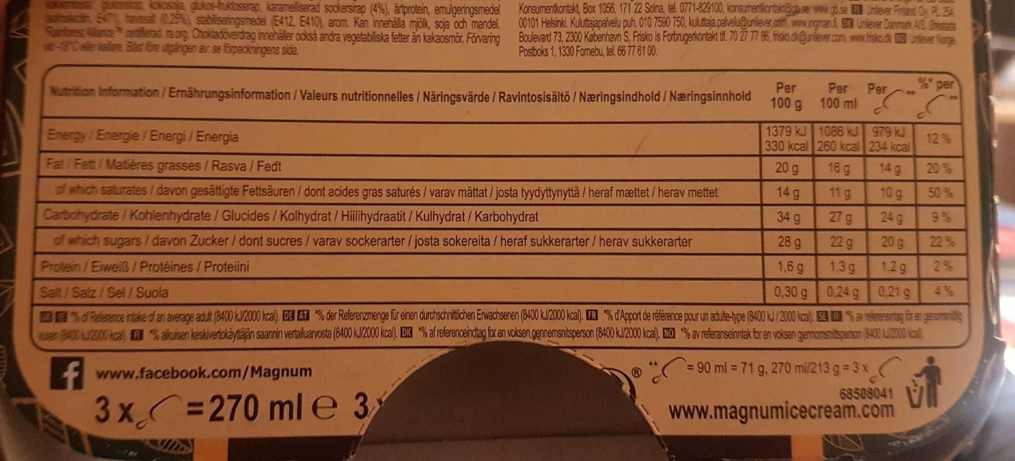 Magnum Vegan Sea Salt Caramel - Nutrition facts - en