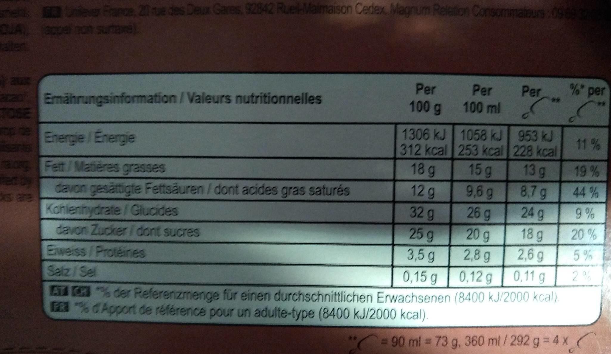 Magnum - Informations nutritionnelles - fr