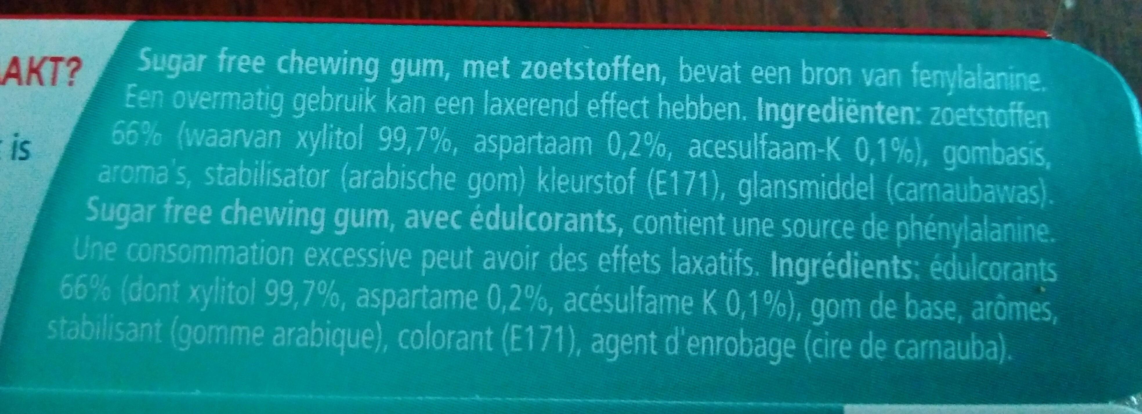 mentholmint sugar free gum - Ingrediënten