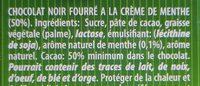 Deluxe chocolate sticks menthe - Ingrediënten