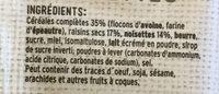 L'autre Plaisir Petit Pavé moelleux raisins et noisettes - Ingrédients