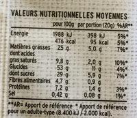 L'autre Plaisir Petit Pavé moelleux raisins et noisettes - Informations nutritionnelles